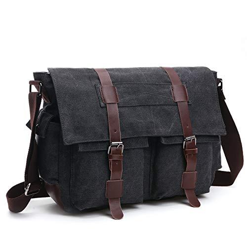 YQSMYSW Multi-Pocket Crossbody Fashion Casual Hip-hop Street Men and Women Couple Canvas Multi-Zip Single Shoulder Messenger Bag (Color : Black) (Faceted Black Buckle Leather Belt)