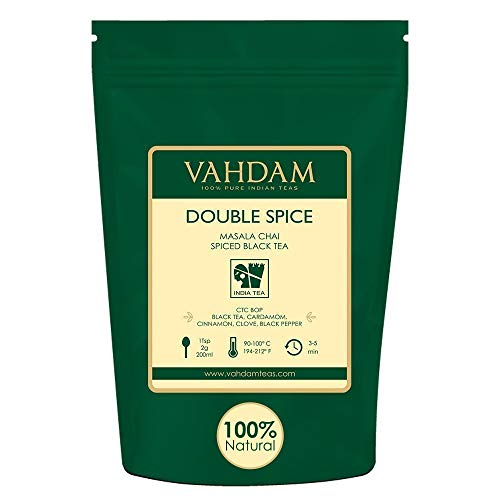 VAHDAM, Double Spice Masala Chai Tea (100 Cups), STRONG & SPICY, 100% Natural Ingredients |   Blend of Black Tea, Cardamom, Cinnamon, Cloves & Black Pepper | Brews Chai ()