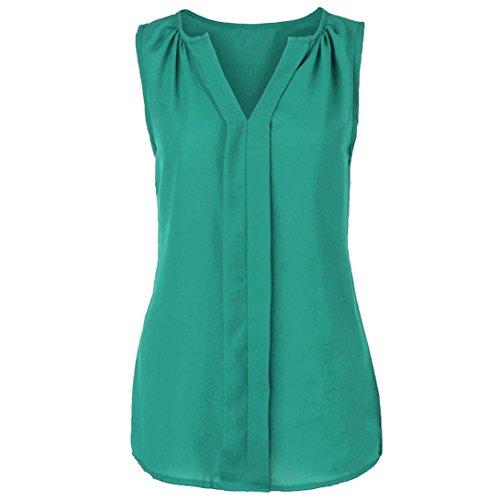 iTLOTL Womens Plus Size Chiffon Vest Shirt Sleeveless Blouse Casual Tank Tops T-Shirt(US:18/CN:XXXXL, Green)