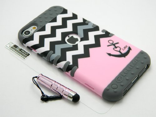New 3-piece Impact Hybrid Combo Hard Case Cover For iPod Touch 5th Generation Chevron Stripes Soft Skin With Screen Guard and Stylus Pen (Pink Anchor/Gray)