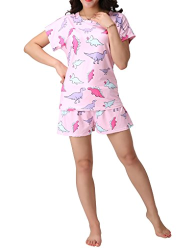 MyFav Women's Cartoon Dinosaur Pajama Ser Soft Lightweight Sleepwear Loungewear
