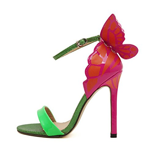 SODIAL Women personality wedding high heels woman Colorful butterfly pointed toe sandals Valentine bow party bridal pumps shoes Green 37