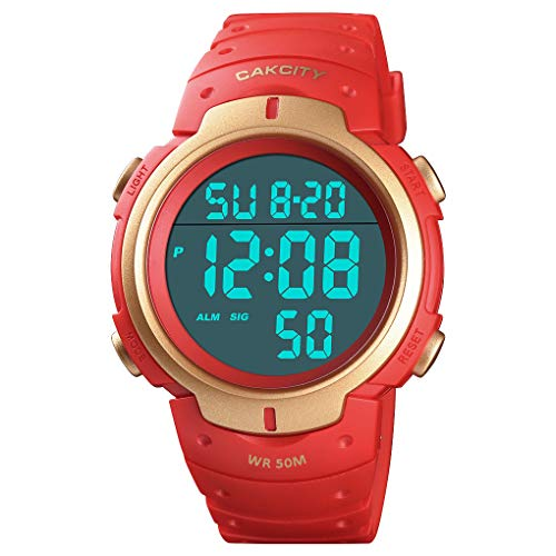 Mens Digital Sports Watch LED Screen Large Face Military Watches for Men Waterproof Casual Luminous Stopwatch Alarm…