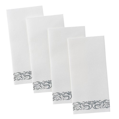 Superior Quality Decorative Linen-Feel Hand Towels By Bloomingoods - Silver Floral Disposable Paper Towels For Guests - Pack Of 100 - Ideal Size Of 12x17 Inches Unfolded And 8.5x4 Inches -