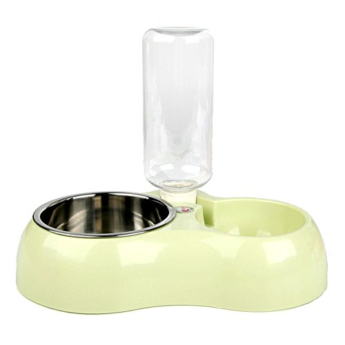 Efanr Pet Automatic Drinking Water Feeding Double Bowls Stainless Steel Dog Bowls Cat Bowl Water Basin Pet Rice Bowls Dog Plate for Small and Medium Pet (Green)