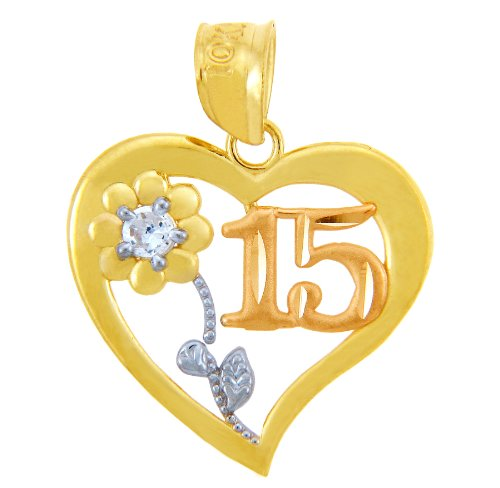 10 ct 471/1000 Or Bonbon 15 Ans Coeur w / Oxyde de Zirconium Pendentif Collier (Livre Avec un 45 cm Chaine)