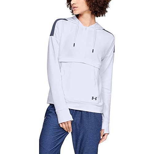 Under Armour Women's Featherweight Fleece 1/2 Zip, White (100)/Utility Blue, Small