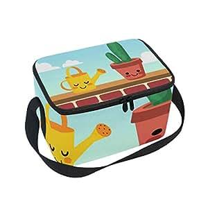Alinlo - Bolsa de almuerzo, con cremallera, aislante, para picnic, escuela, mujeres, niños, diseño de cactus