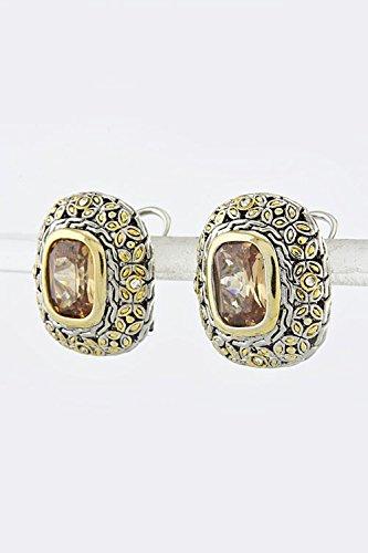 TRENDY FASHION JEWELRY EDWARDIAN EARRINGS BY FASHION DESTINATION | (Smoked Topaz)