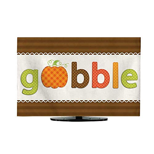 (TV Cover Thanksgiving Retro Applique of Fabric Gingham Letters and Cute Pumpkin in Autumn Colors L40 x)