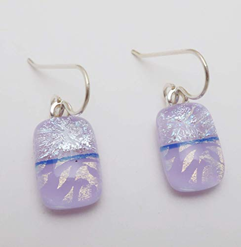 Modern Art Lavender Fused Dichroic Glass Dangle Earrings .925 Sterling silver ear wires #128 (Dichroic Fused Glass Jewelry)