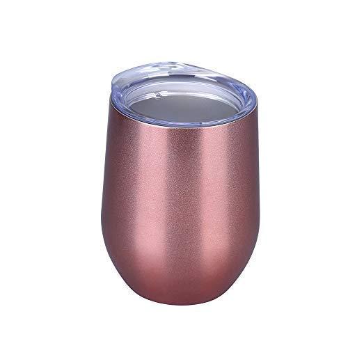 Champagne Rose Gold Coffee Stainless Steel Wine Tumbler with Lid Wine Unbreakable Stemless Travel Cup for Cold and Hot Drink Beer and Cocktails 12 oz Double Wall Vacuum Insulated Wine Glass