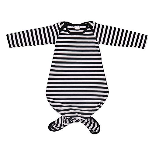 BubbleColor Baby Sleeper Gown Floral Striped Knotted Nightgowns Baby Soft Organic Cotton Sleep Gown Sleepwear Pajamas for Infant Toddler Girl and Boy (Black Stripe, S:0-6 Months)