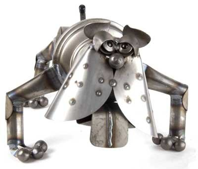 Bobble-Head Bulldog Recycled Metal Sculpture
