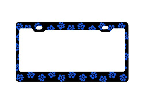 (DIY Rine Royal Blue Paw Prints with Hearts Chrome License Plate Frame Tag)