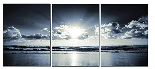 "Canvas Wall Art Black White Dark Blue Sea Sunset 12"" x 16"" x 3 Panels Canvas Painting Modern Artwork for Home Decoration Framed Ready to Hang"