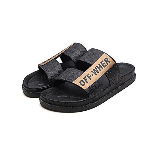 YQQ ビーチの靴 サンダル ファッションスリッパ 男性 男性の靴 夏のカジュアルシューズ ホリデーシューズ 滑り止め 男の子 居心地の良い ソフトボトム (色 : ゴールド, サイズ さいず : EU43/UK9)