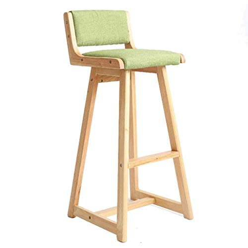 - Solid Wood Patio Outdoor Durable Simple High Stool Leisure Cafe Household Kitchen Cotton and Linen Cushion High Stool (Color : Gray,Size:363688CM) (Color : Green)