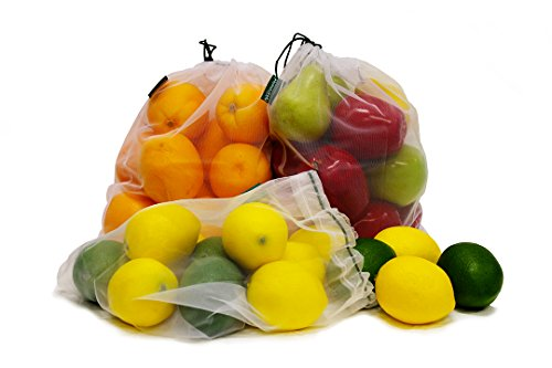 Earthwise Reusable Mesh Produce Bags - Washable Set of 9 Premium Bags, TRANSPARENT Lightweight, Strong SEE-THROUGH Mesh for shopping, transporting and storing fruits and veggies. by Earthwise (Image #3)'