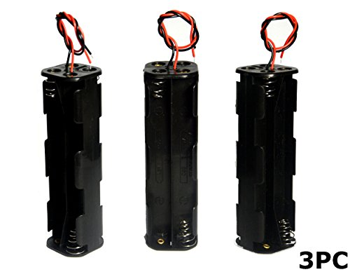 LAMPVPATH (Pack of 3) 8 AA Battery Holder, 12v AA Battery Holder, 8 AA Battery Holder With Leads