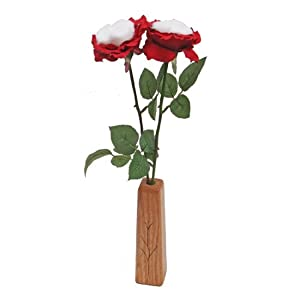 JustPaperRoses 2nd Second Wedding Cotton Roses 2-Stem Bouquet and Wood Vase 58