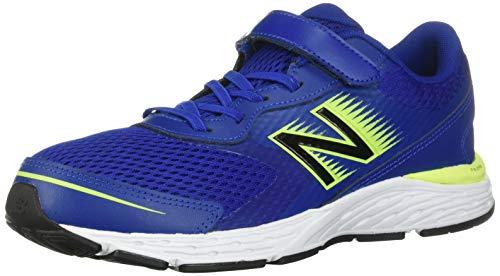 New Balance Boys' 680v6 Running Shoe, Marine Blue/Lemon Slush/Black, 6 XW US Big Kid