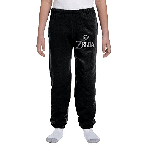 (Zelda Triforce With Sword Youth Basics Fleece Pocketed Sweat Pants Black)