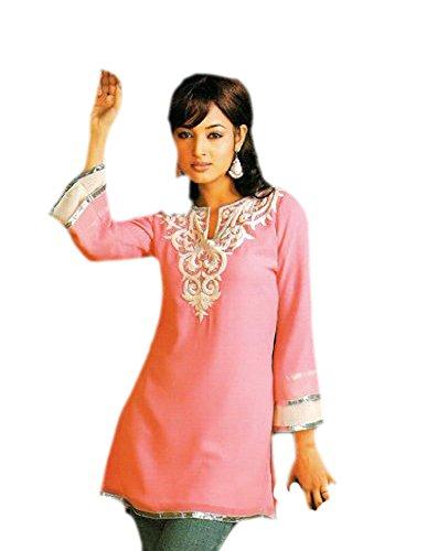 jayayamala dames PinkTunic Top avec manches longues