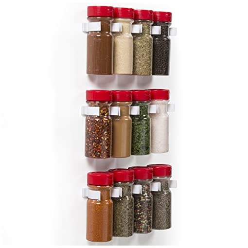 Kitchen Magnetic Spice Rack Gripper Clips- Set of 12 Universal Spice Jar Clips – Easily Organize and Reorganize Dispensers- No… spice racks