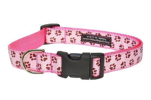 Sassy Dog Wear 18-28-Inch Pink/Brown Puppy Paws Dog Collar, Large
