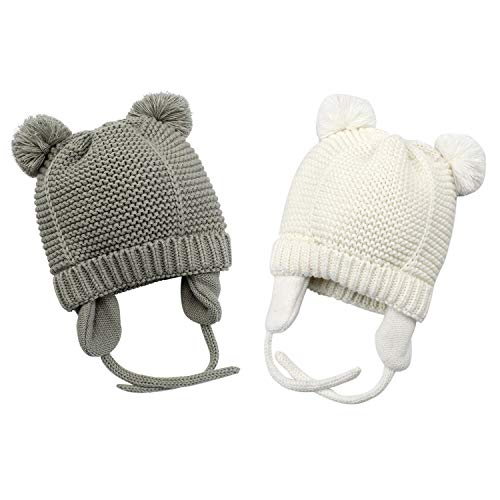 Bestjybt Baby Hat Cute Bear Infant Toddler Earflap Fleece Lined Beanie Warm Caps for Fall Winter (2 Pack(Grey+White), 2-9 Months)