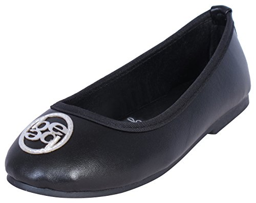 bebe Girls Classic Ballet Flats - Dress Casual Ballerina Slip On Shoes, Black/Silver, Size 2/3 (Slip On Girls Shoes Size 2)
