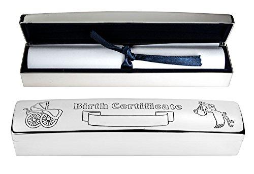 Personalizado bañado en plata soporte para certificado de nacimiento–Grabado con su detalles