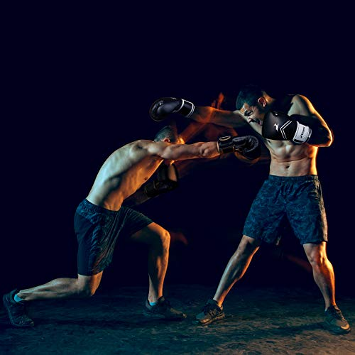 Trideer Pro Grade Boxing Gloves, Kickboxing Bagwork Gel Sparring Training Gloves, Muay Thai Style Punching Bag Mitts, Fight Gloves Men & Women(Black & White, 16 oz)