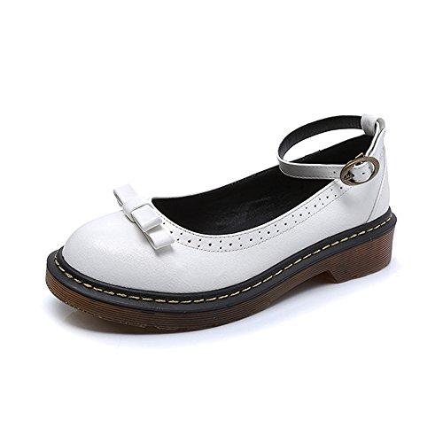 Damen Schuhe Rund Knöchelriemen Kitten-Heel Weiß