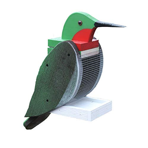 Lancaster's Best Outdoor Hanging Bird Feeder Seed Tray, Hummingbird Bird Shaped Wooden BirdFeeders with Easy Refill Head