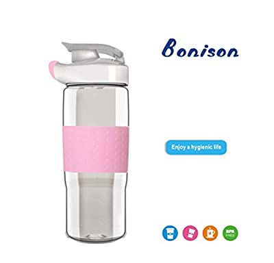 BONISON Top Quality Environmental Glass Water Bottle Borosilicate Silicone Sleeve Sports Drinking Cup with Flip Top Lid Spout Cap Carrying Handle 18.5 oz