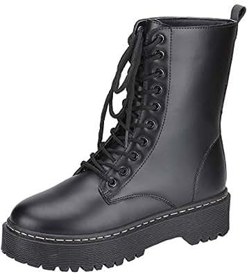 Harper Shoes Womens Combat Boots Lace Up Black Size: 5.5