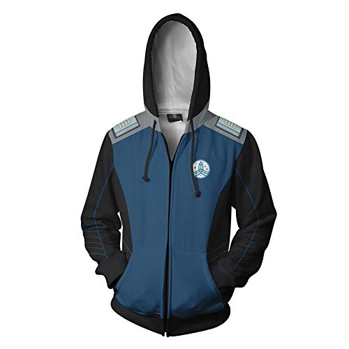 Xiao Maomi Warship Hoodie 3D Printed Womens Mens Jacket for Halloween Cosplay Costume (M, Blue) -