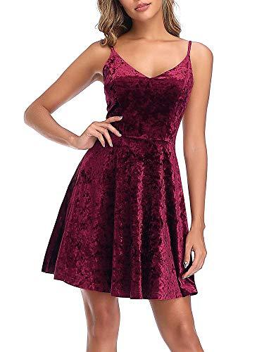 GUBERRY Womens Red Mini Dress Velvet V-Neck Strap Flare Aline Skater Cami Dress ()