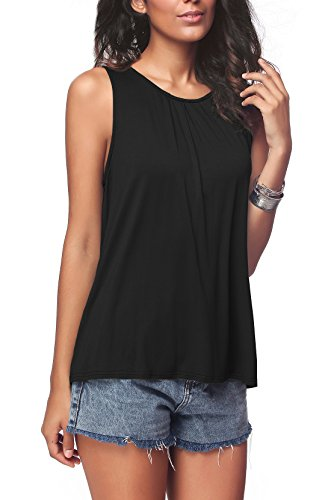 iGENJUN Women's Summer Sleeveless Pleated Back Closure Casual Tank Tops,Black,XL by iGENJUN