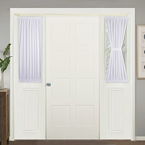 "Curtain Panel, Linen Look Semi Sidelights Door Window Blinds for French Front Door, Backdoor, W30"" x L40"" White Sheer Curtain, Sold Individually with 1 Free Tie Back ()"