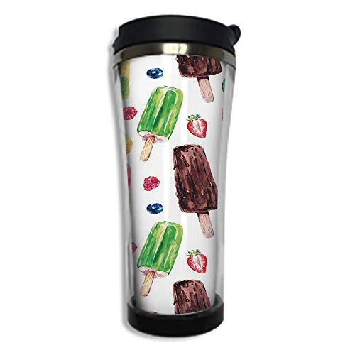 Customizable Travel Photo Mug with Lid - 8.45 OZ(250 ml) Stainless Steel Travel Tumbler, Makes a Great Gift by,Sweet Decor,Yummy Cute Vivid Ice Creams with Fruit and Chocolate Flavors Kiwi Watercolor