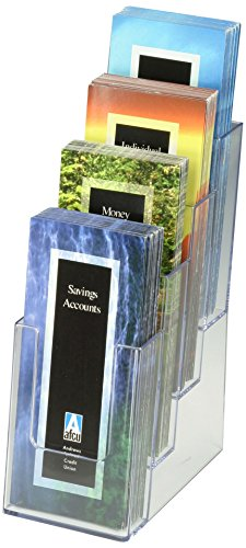 Displays2go Case of 8, Tiered 4 Pocket Brochure Dispenser...
