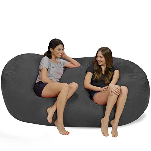 Chill Sack Bean Bag Chair: Huge 7.5' Memory Foam Furniture Bag and Large Lounger - Big Sofa with Soft Micro Fiber Cover - Charcoal