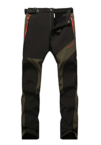 MorryOddy Women's Soft Shell Fleece Windproof Hiking Ski Pants Black US X-Large