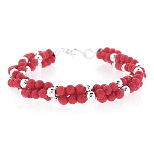 Torsade Coral (Glitzs Jewels Sterling Silver Lab Simulated Pink Coral Beaded Three Strand Torsade Bracelet, 7'')