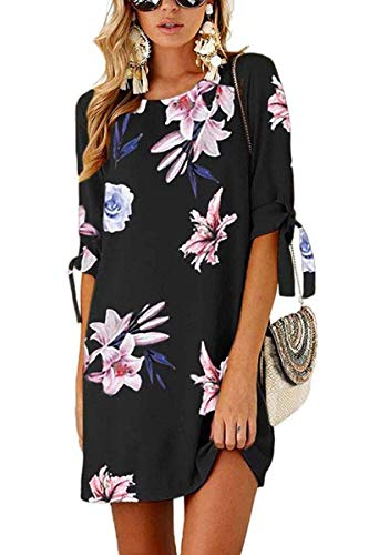 Womens Casual T Shirt Dress 3/4 Sleeve Floral Loose Shift Dress Tunic Sundress Medium -
