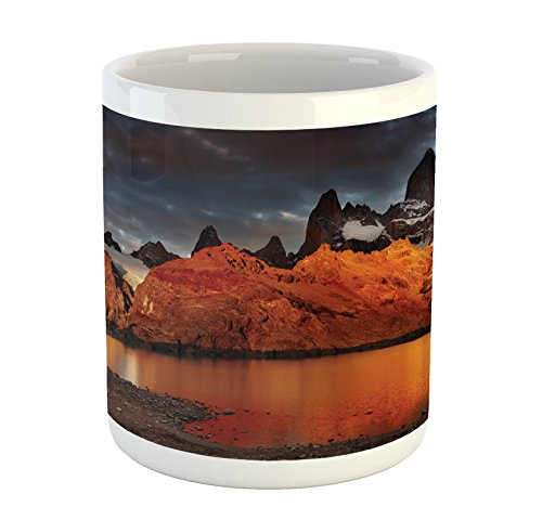Lunarable Landscape Mug, Patagonia Wonders of The World Natural Setting Sunset Trekking Serene Dawn Image, Printed Ceramic Coffee Mug Water Tea Drinks Cup, Orange Blue