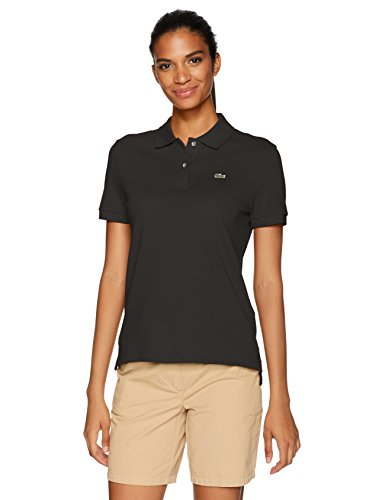 Lacoste Women's Classic Fit Short Sleeve Soft Cotton Petit Piqué Polo, Black, 14